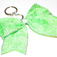 Green Sparkle Design Keychain Bow with Silver Center and an opening and closing clasp