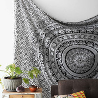 Black and White Elephant Mandala Tapestry