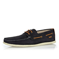 River Island MensNavy leather contrast lace boat shoes