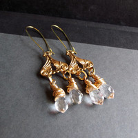 Long Chandelier Crystal Earrings:  Antiqed Gold Dangle Earrings, Clear Crystal Drop Earrings, Holiday Sparkle Jewelry