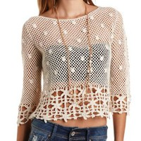 Daisy Crochet Top by Charlotte Russe - Natural