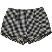 70s Vintage Missing Label Shorts: Early 70s -Missing Label- Womens black and white gingham print cotton high waist super short shorts with back button/zip closure and darted rear.