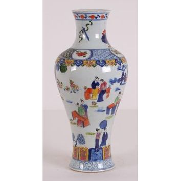 White Chinese Vase with Multi Color Pattern
