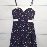 Cupid's Smile Sweetheart Heart Print Dress in Navy/White by Minuet | Sincerely Sweet Boutique