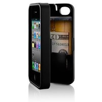 Black, Case for iPhone 4/4S with built-in storage space for credit cards/ID/money by EYN (Everything You Need): Cell Phones & Accessories