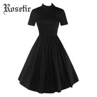 Gothic Dress Black Summer Women Expansion Patchwork Party Button Dresses Prom Pleated Collar Button Vintage Goth Dresses