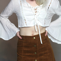 Enchanted Bohemian White Crop Top