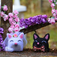 Cat Cake Topper, Wedding Cake Topper, Bride and Groom, Kitty Cake Topper, Wedding Keepsake, Needle Felted Cat, Cat Couple, Felt Cake Topper