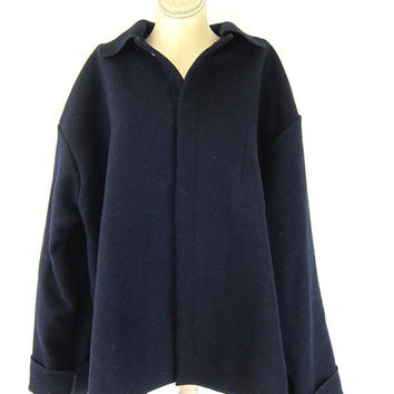 Navy Blue wool coat. heavy reprocessed wool jacket. National Safety Apparel NSA coat. Preppy Wool Blanket Pea Coat with snaps. mens 2XL