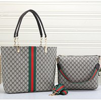 GUCCI Women Leather Handbag Tote Shoulder Bag Purse two-piece