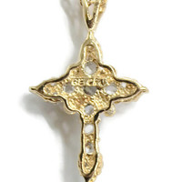 CFJ Lind 14K Gold Plated Cross Pendant Necklace, With Cubic Zirconia