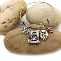 Peace comes from within Buddha Lotus Charm Hook Bracelet