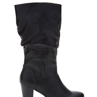 FOREVER 21 Slouchy Faux Leather Boots