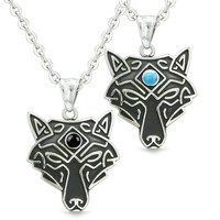 Celtic Wolf Third Eye Protection Love Couple or Best Friends Simulated Onyx Simulated Turquoise Necklaces