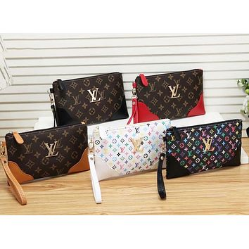 Louis Vuitton New Colorful Letter Printing Fashion Cosmetic Bag Business Bag Clutch