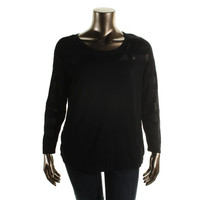 INC Womens Plus Knit Shadow Stripe Pullover Top