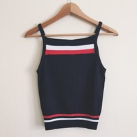Jaime Red Striped Knit Halter