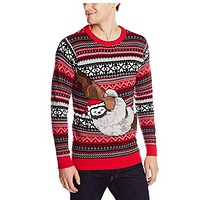 Blizzard Bay Mens Sloth Tree Ugly Christmas Sweater, Red/Grey/Black, X-Large