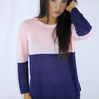 Color Block Light Sweater {Pink/Navy}