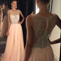 New Arrival Prom Dress Illusion Neckline Peach Chiffon with Beaded Formal Dress APD1651