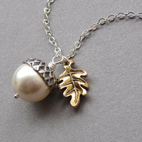 Acorn necklace, gold oak leaf, swarovski crystal, cream pearl, antiqued silver, silver plated chain - woodland autumn fall jewelry