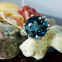 4 ct London Blue Topaz in Sterling Silver Filigree Ring - With Video!!