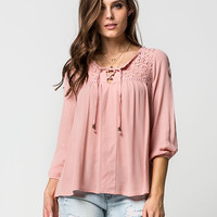 TAYLOR & SAGE Lace Up Womens Top | Blouses