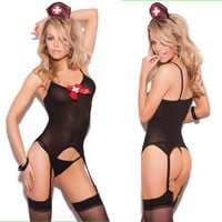 Cute On Sale Sexy Hot Deal Cosplay Uniform Spaghetti Strap See Through Exotic Lingerie [10236752972]