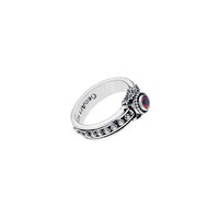 Vintage Classical Sterling Silver And Garnet Spinner Ring