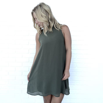Tied To No One Shift Dress In Olive