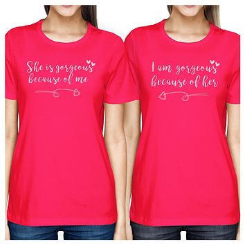 She Is Gorgeous Hot Pink Mom Daughter Cute Matching T-Shirts Cotton