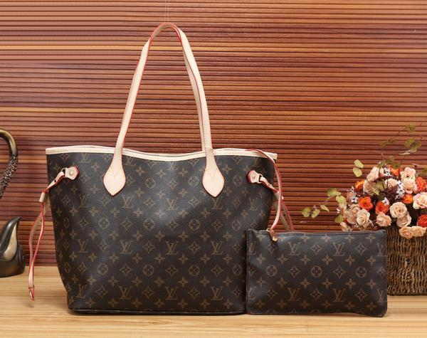 Image of LV Louis Vuitton Flor Women Girl Monogram Canvas Neverfull Two piece And Key pouch-Coin purse