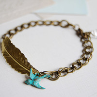 Gold Brass feather, Blue verdigris Swallow Bird and Clear Crystal Bracelet. Double Link Chain Bracelet. Lobster Clasp Closure. Vintage Style