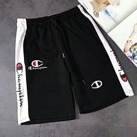 Champion Popular Women Men Embroidery Black White Joining Together Casual Sport Shorts I-CN-CFPFGYS