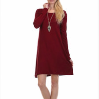 Solid Long Sleeved Tunic Dress (choose color)