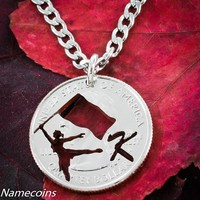 Color Guard jewelry with your custom initial, hand cut quarter