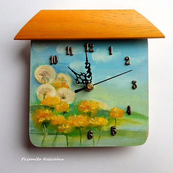 Small PAINTED CLOCK Funny Little Clock with Landscape Original Nature painting Dandelions Hand painted Unique Wall decor Ready to hang