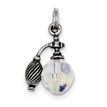 Sterling Silver Antiqued Perfume Bottle Charm QC4678