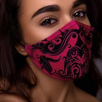 Pink Women's Tribal Paisley Print Face Mask