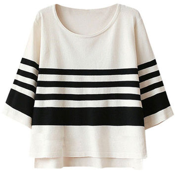 Striped Color Block Half Sleeve Cropped T-Shirt