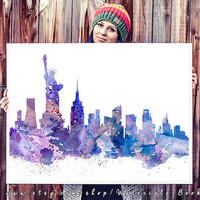 New York City Skyline, Art Print, big apple poster, New York poster, USA print, Manhattan