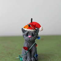 Cat Christmas Ornament - Grey Cat Tangled in Lights - READY TO SHIP - Hand Sculpted
