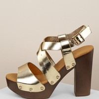Metallic Cross Bands Platform Chunky Heel Sandals