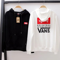 Vans Autumn And Winter New Fashion Bust Letter And Back Letter Print Hooded Top Long Sleeve Sweater White