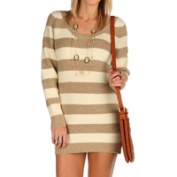 Sale-brown Lucky Striped Sweater Dress