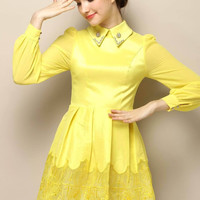 Yellow Pointed Flat Collar Embroidery Cuff Sleeve A-Line Pleated Mini Dress with Mesh Accent