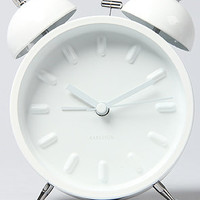 present time The Twin Bell Alarm Clock in White : Karmaloop.com - Global Concrete Culture