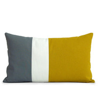 AS SEEN in Richmond Magazine: Colorblock Pillow in Mustard Yellow, Cream and Charcoal Grey Linen by JillianReneDecor - Modern Home Decor