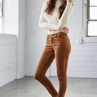 Bullhead Denim Co. Spice Uncut Corduory Mid Rise Skinny Jeans - Womens Jeans - Brown