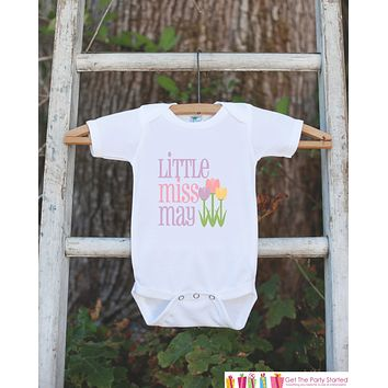 Little Miss May Onepiece Bodysuit - Take Home Outfit For Newborn Baby Girls - Pastel Spring Flowers Infant Going Home Hospital Onepiece